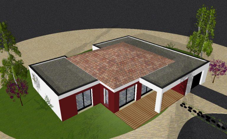 Maquette d'une construction maison toit terrasse Aubenas